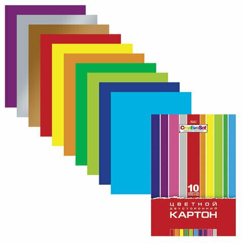"""Набор цветного картона А4 10л/10цв HATBER """"Creative"""" двухсторонний 126943"""