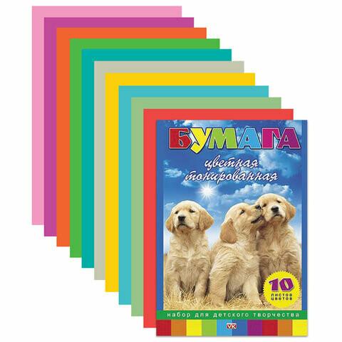 """Набор цветной бумаги А4 10л/10цв HATBER """"Три щенка"""" 128036"""