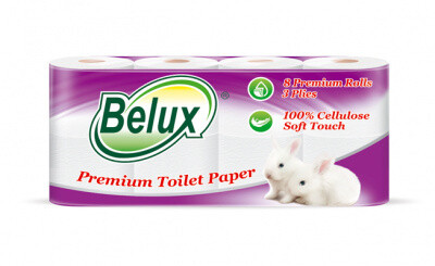 Бумага туалетная Belux 1*8 3сл 22м, 150л 228001
