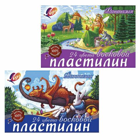 """Пластилин 24 цв восковой ЛУЧ """"Фантазия"""" со стеком 104173"""