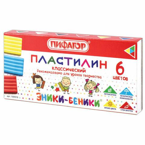 "Пластилин 6 цв ПИФАГОР """"Эники-Беники"" со стеком 100970"