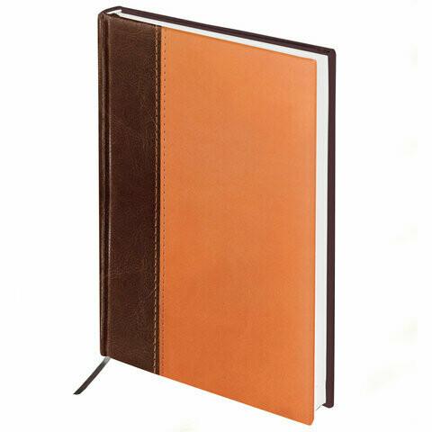 """Ежедневник недатированный А5 BRAUBERG """"Prestige"""" кожзам 128280 корич/оранж."""