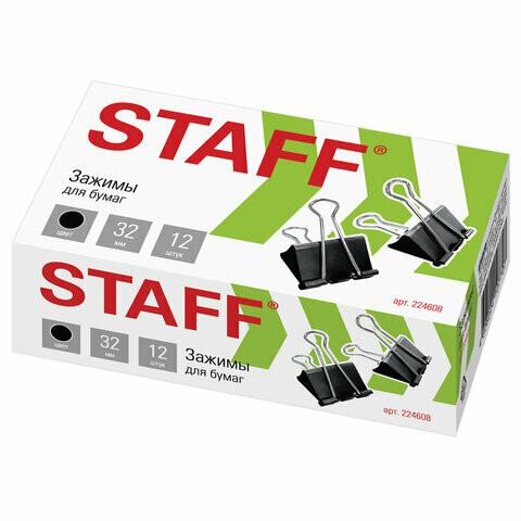 Зажим для бумаг 32 мм STAFF 224608