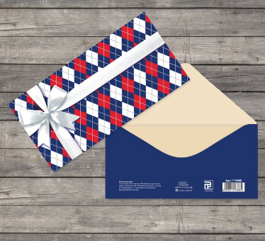 """Открытка‒конверт для денег """"Универсальный"""", ромбы, бант 1176888"""