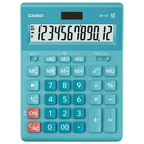 Калькулятор CASIO GR-12C-LB 12 разрядов 210*155 мм голубой