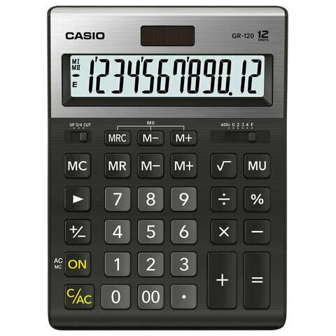 Калькулятор CASIO GR-120-W 12 разрядов 210*155 мм черный/металл