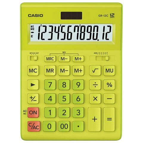 Калькулятор CASIO GR-12C-GN 12 разрядов 210*155 мм салатовый