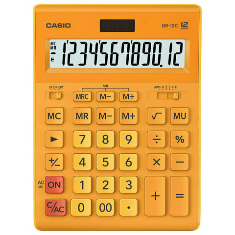 Калькулятор CASIO GR-12C-RG 12 разрядов 210*155 мм оранжевый