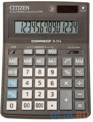 Калькулятор Citizen Correct D-314 14 разрядов 155*205мм