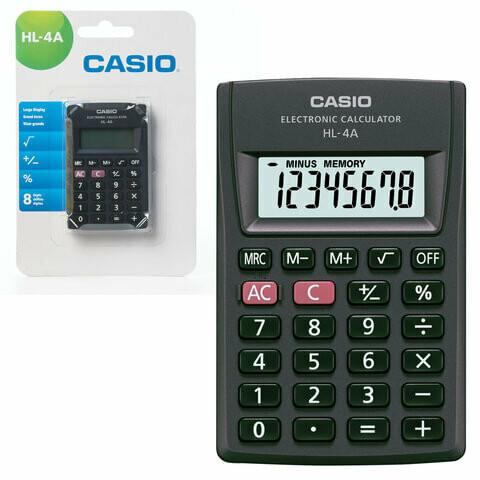 Калькулятор карманный CASIO HL-4A 8 разрядов 87*56мм 250398