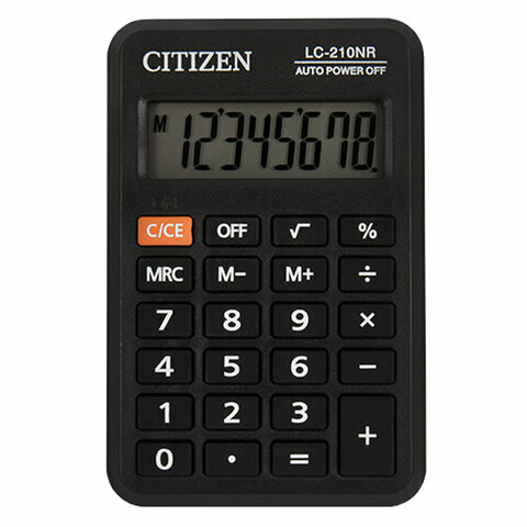 Калькулятор карманный Сitizen LC-210N 8 разрядов 98*62мм