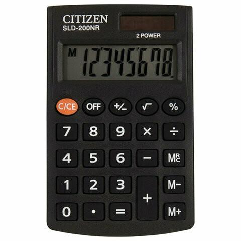 Калькулятор карманный Сitizen SLD-200NR 8 разрядов 98*60мм