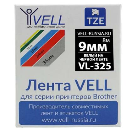 Лента VELL VL-325 9мм (белый на черном) Vell325