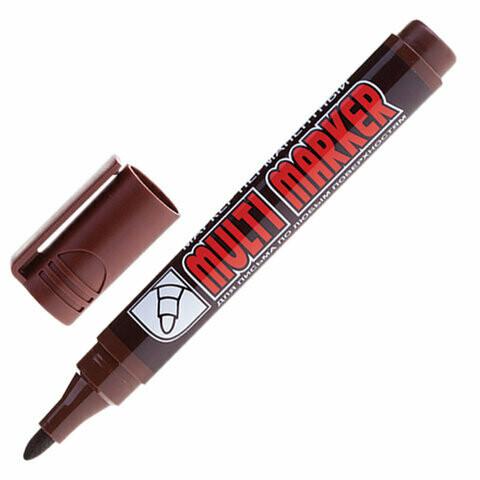 Маркер перманентный 3мм CROWN круглый наконечник 151549 коричневый