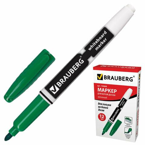 Маркер д/доски BRAUBERG тонкий 150849 зеленый