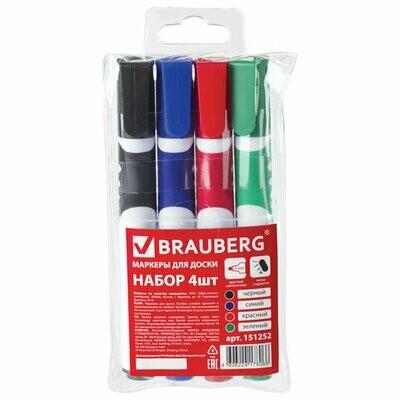 Набор маркеров д/доски BRAUBERG SOFT (4 шт: син, черн, красн, зел.) 151252