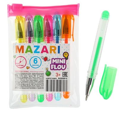 """Набор гелевых ручек 6 цв MAZARI """"Mini Flou"""" M-5558P-6 флуорисцентные"""