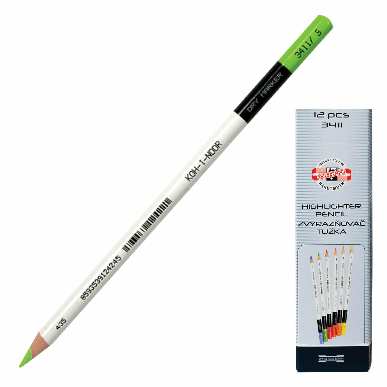 Текстмаркер-карандаш сухой KOH-I-NOR 150893 зеленый