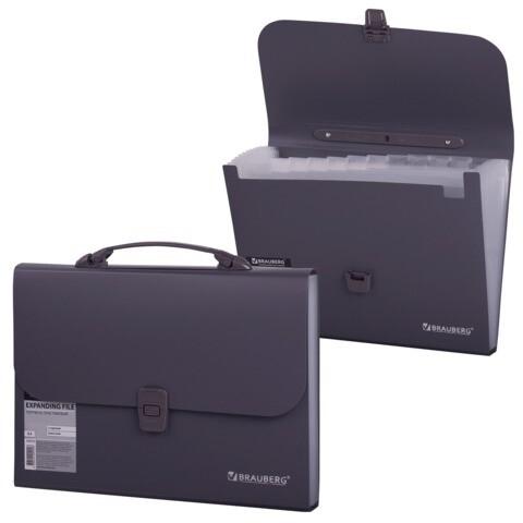 Портфель А4 13 отделений BRAUBERG  пластик 221438 темно-серый
