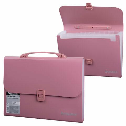 Портфель А4 13 отделений BRAUBERG  пластик 221441 розовый