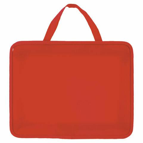 Папка А4 с ручками на молнии ПИФАГОР пластик 228232 красная