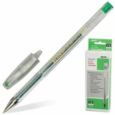 Ручка гелевая 0.5мм BEIFA PX888-GR зеленая