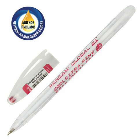 """Ручка масляная 0.5мм PENSAN """"Global-21"""" 2221 красная"""
