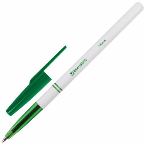Ручка шариковая 1мм BRAUBERG офисная 141511 зеленая