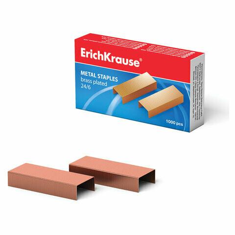 Скобы для степлера № 24/6 ERICHKRAUSE омедненные  EK7143