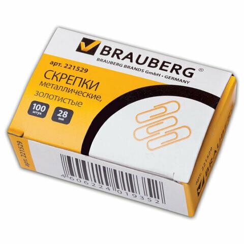 Скрепки 28мм (100 шт) BRAUBERG 221529 золото