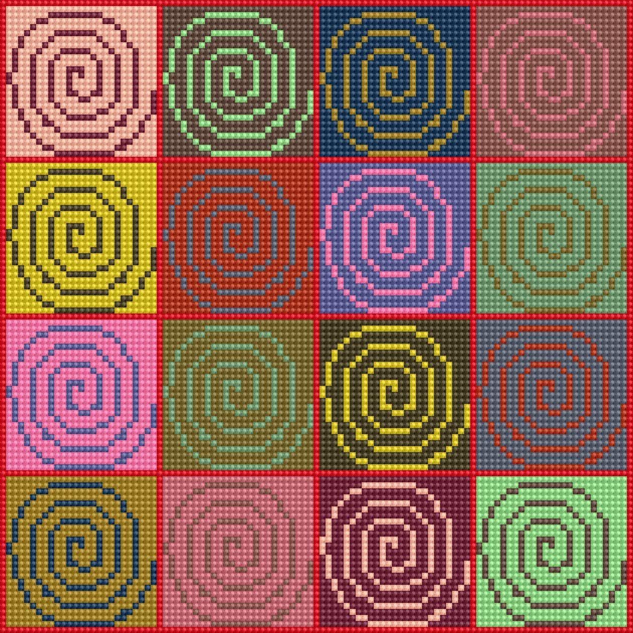 Use Your Stash - Spiral Carpet - Stitch Chart
