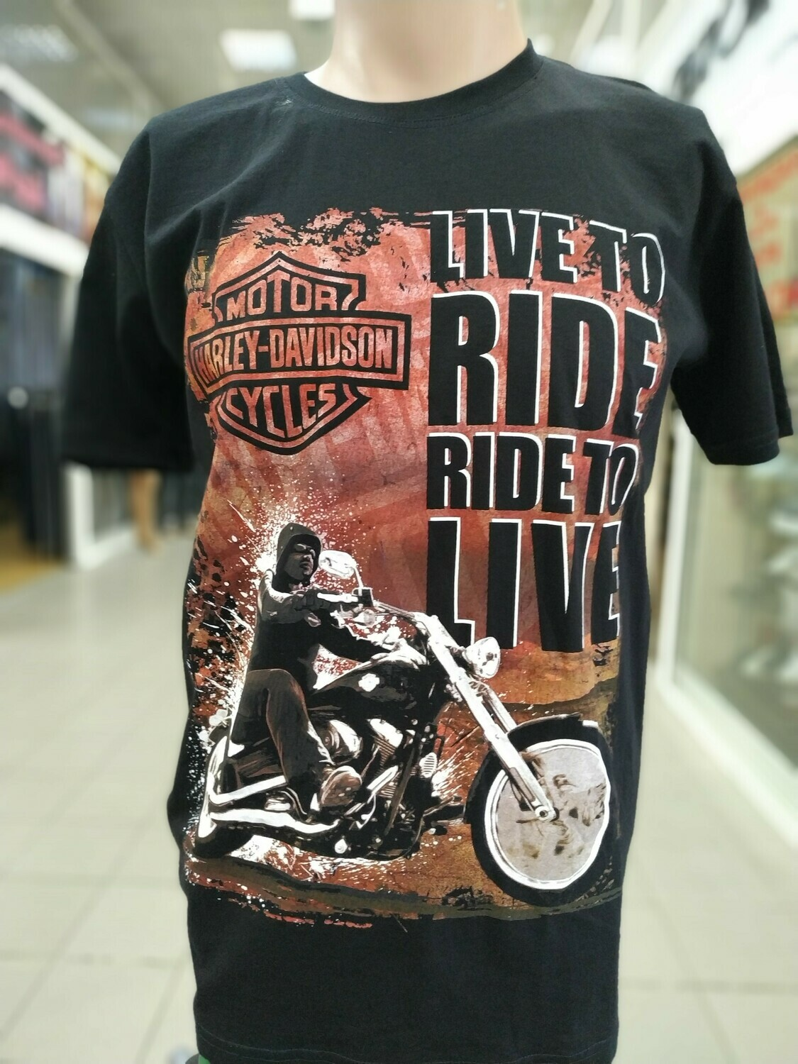 ФУТБОЛКА LIVE TO RIDE HARLEY-DASVIDSON CYCLES чёрная