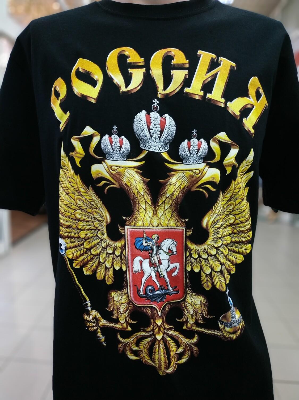Футболка Россия герб чёрная