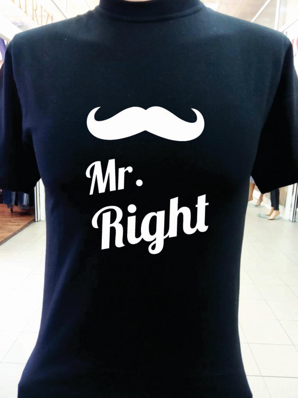 ФУТБОЛКА Mr.Right белая/черная
