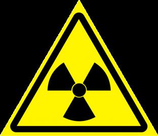 Наклейка Опасно, радиоактивные вещества или ионизирующие излучение