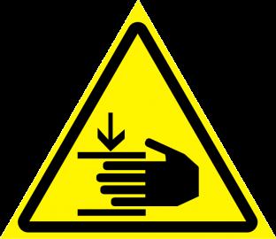 Наклейка Осторожно, возможно травмирование рук