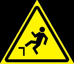 Наклейка Осторожно, возможность падения с высоты