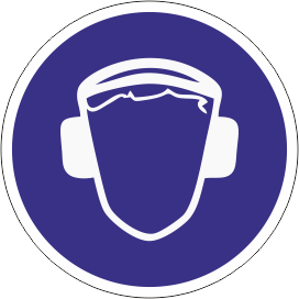 Наклейка Работать в защитных наушниках