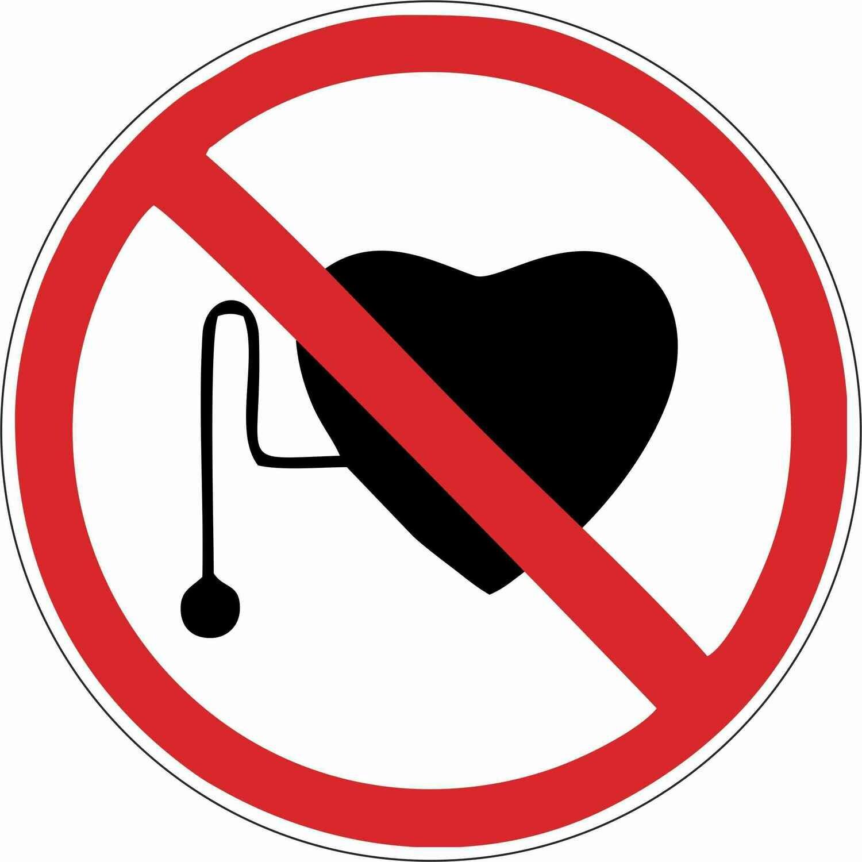 Наклейка Запрещается работа (присутствие) людей со стимуляторами сердечной деятельности