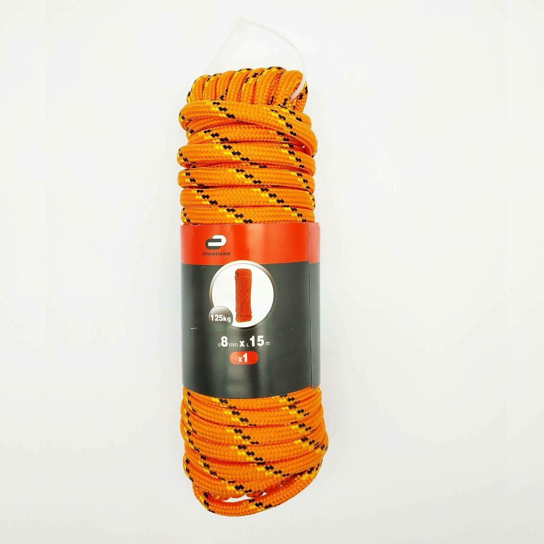 Веревка (Шнур) Standers 8 мм 15 м, на 125 кг., полипропилен, цвет мультиколор