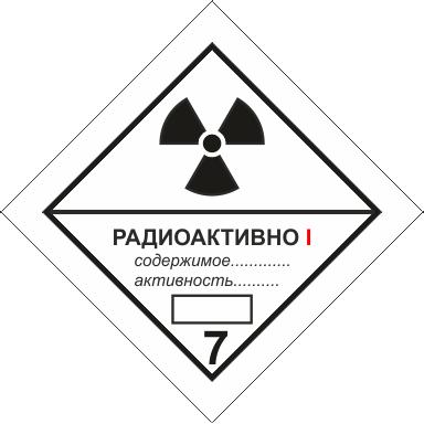 Наклейка Радиоактивные материалы, категории I, II и III