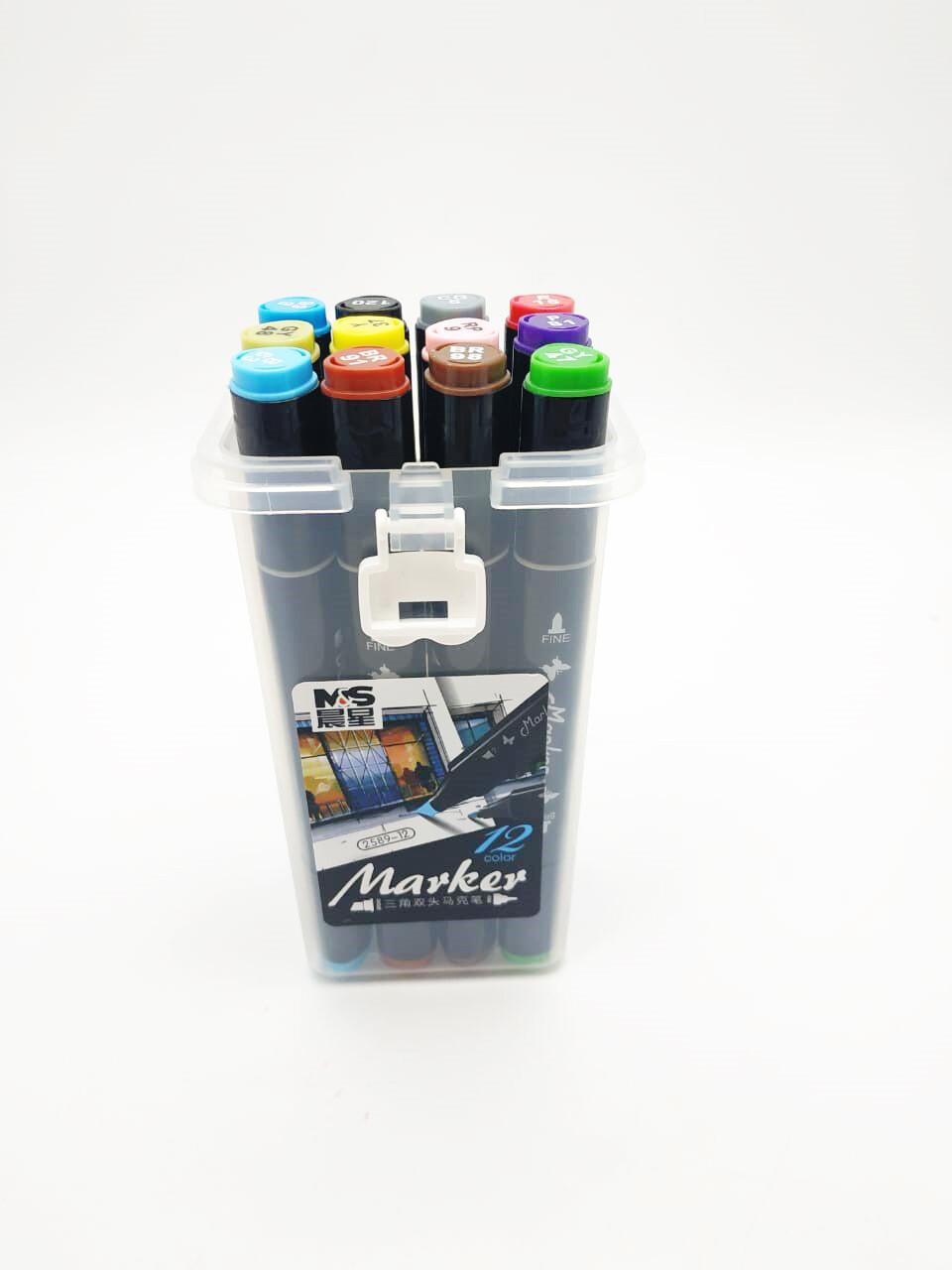 Набор маркеров двухсторонних для скетчинга 12 цветов (2 пера)
