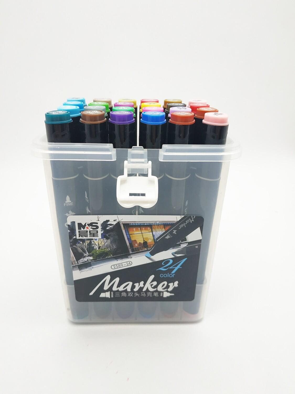Набор маркеров двухсторонних для скетчинга 24 цвета (2 пера)