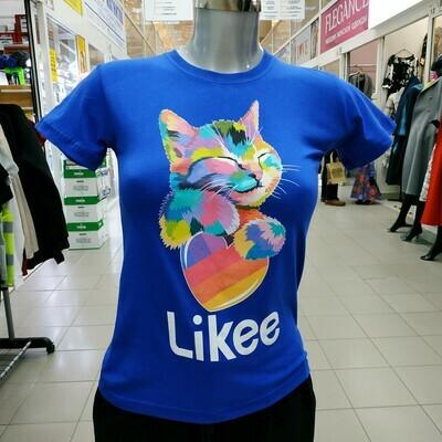 """ФУТБОЛКА """"Likee"""" с котом синяя"""