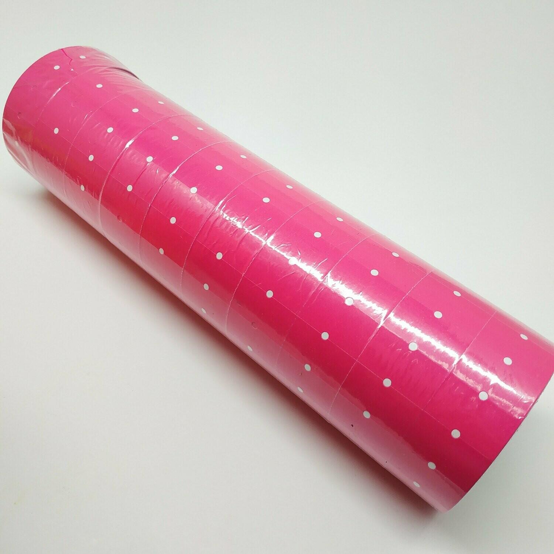 Ролики 10шт. лента для этикет-пистолета розовая неон, 10x1000 стикеров