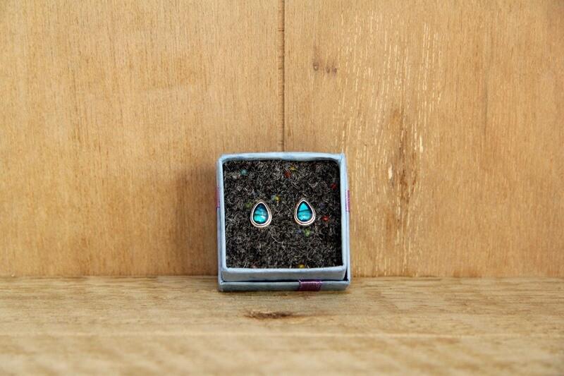 Blue shell teardrop earrings
