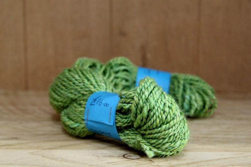 Merino & silk handspun wool - green