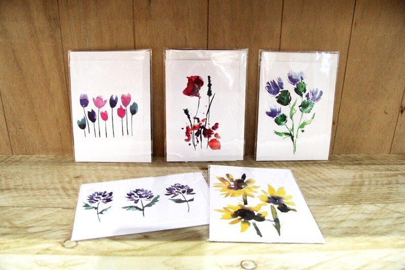 Flowers greeting cards - pack of 5