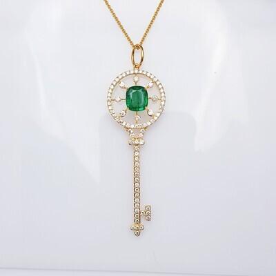 "Emerald and Diamond ""KEY"" Pendant in 18K Gold"