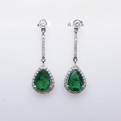 Emerald and Diamond Earrings 18K White Gold